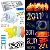 2011 new year labels, icons, tags and stamps - set of conceptual vector design elements