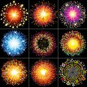 Collection of Colorful Festive fireworks, sparklers, salute and petards explosions - design elements