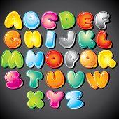 Постер, плакат: Радостный тип шрифта мультфильма буквы от A до Z > версии eps в моей галерее