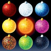 Colorful Christmas Baubles - vector illustration only gradients used