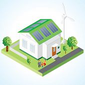 Green House vector concept - Isometric composition of small house with ecological equipment - solar cells and wind turbine