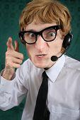 Furious nerdy phone operator