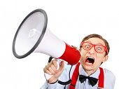 image of goofy  - Funny guy with bullhorn - JPG