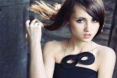 Pretty girl wearing eye mask