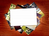 blank photo paper on wooden background