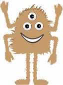 Brown Furry Monster Three Eyes Four Arms Smiling