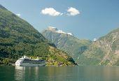 Cruiser in Norwegian fjord