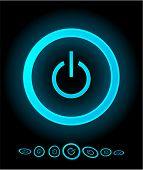 Blaue Startknopf