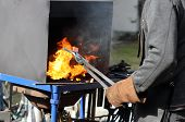Hot iron forge,