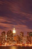 image of new york skyline  - Midtown Manhattan skyline at Night Lights New York City - JPG