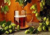 foto of beer mug  - Beer and hops in retro style - JPG
