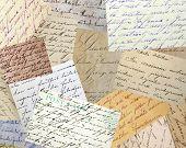 Collage of vintage handwriting samples