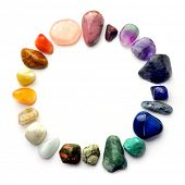 foto of calcite  - Color spectrum of semiprecious gemstones in circle frame - JPG
