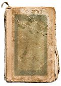 Very old tattered book on white.