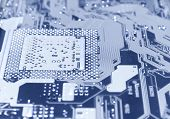Computer chip perspective view. Blue tint.
