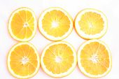 Oranges on a white background