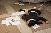 stock photo of crime scene  - Crime scene in a office with dead secretary - JPG