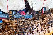 picture of galleon  - Galleon model detail made of wood - JPG