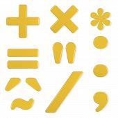 stock photo of quotation mark  - Yellow symbols set - JPG