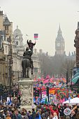 London - March 26: Protesters March Down Whitehall Against Public Expenditure Cuts In A Rally -- Mar