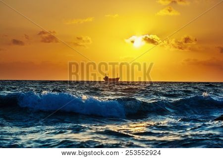 Seascape With Cargo Ship In
