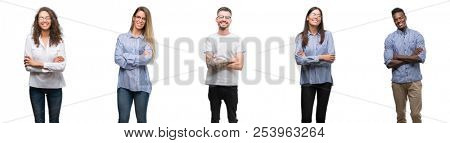 poster of Group and team of young business people over isolated white background happy face smiling with cross