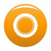 Single Tire Icon. Simple Illustration Of Single Tire Vector Icon For Any Design Orange poster