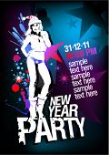 stock photo of club party  - New Year Party design template with fashion girl and place for text - JPG