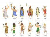 Pantheon Of Ancient Greek Gods, Mythology. Set Of Characters With Names. Flat Vector Illustration. I poster