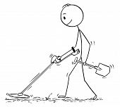 Cartoon Stick Drawing Conceptual Illustration Of Treasure Hunter With Spade Searching With Metal Det poster