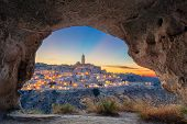 Matera, Italy. Cityscape Image Of Medieval City Of Matera, Italy During Beautiful Sunset. poster