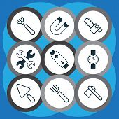 Tools Icons Set With Magnet, Wrench, Battery And Other Putty Elements. Isolated Vector Illustration  poster