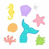 Mermaid, Marine, Sea Hand Drawn Vector Graphic Illustrations; Mermaid Tail, Starfish, Seashell, Pear poster