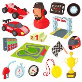 Race Icons Set In Cartoon Style. Car Racing Set Collection Illustration poster