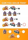 Funny Math. System Of Equations, A Math Game For Kids. poster