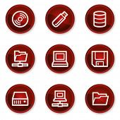 Drives and storage web icons, dark red circle buttons