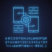 Smartphone Settings Neon Light Icon. Phones With Cogwheel. Glowing Sign With Alphabet, Numbers And S poster