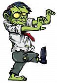 Cartoon zombie with brains exposed