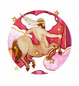 Astrological Sign Of The Zodiac Sagittarius Watercolor With Retro Style, On A Round  Pattern Backgro poster
