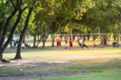 Abstract Blurred Group Of Latin America Outdoor Volleyball Players poster