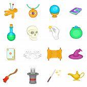Cartoon Magic Icons Set. Universal Magic Icons To Use For Web And Mobile Ui, Set Of Basic Magic Elem poster