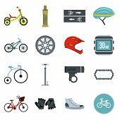 Flat Biking Icons Set. Universal Biking Icons To Use For Web And Mobile Ui, Set Of Basic Biking Elem poster