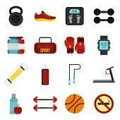 Flat Gym Icons Set. Universal Gym Icons To Use For Web And Mobile Ui, Set Of Basic Gym Elements Isol poster
