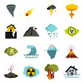 Flat Natural Disaster Icons Set. Universal Natural Disaster Icons To Use For Web And Mobile Ui, Set  poster