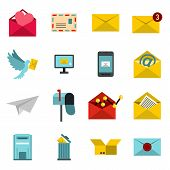 Flat Email Icons Set. Universal Email Icons To Use For Web And Mobile Ui, Set Of Basic Email Element poster