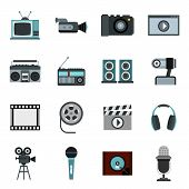 Flat Video Icons Set. Universal Video Icons To Use For Web And Mobile Ui, Set Of Basic Video Element poster