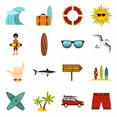 Flat Surfing Icons Set. Universal Surfing Icons To Use For Web And Mobile Ui, Set Of Basic Surfing E poster