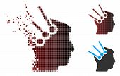 Vector Neural Interface Connectors Icon In Dissolved, Dotted Halftone And Undamaged Solid Versions.  poster