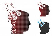 Vector Neural Interface Connectors Icon In Dispersed, Pixelated Halftone And Undamaged Whole Variant poster