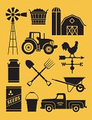 Set Of 11 Detailed Farm Icon Illustrations. Realistic And Highly Detailed Silhouette Illustrations O poster